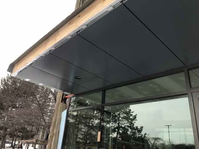 Picture of the under-side of the composite panel canopy